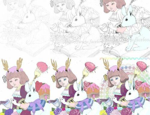 繪圖。小草的不專業電繪步驟分享,鹿角的甜點女孩。